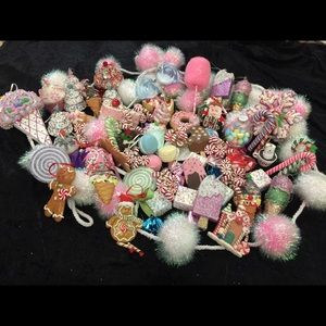 63 candy ornaments and cotton candy trimming.